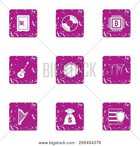 Cash Income Icons Set. Grunge Set Of 9 Cash Income Vector Icons For Web Isolated On White Background