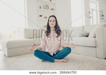Portrait Of Nice Cute Lovely Charming Stylish Adorable Winsome Sweet Girl Sitting On Floor Carpet In