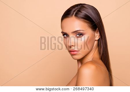 Half Turn Portrait Charming Adorable Good-looking Attractive Gorgeous Lady With Her Naked Shoulders