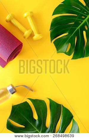 Yoga Or Fitness Workout Concept, Fitness Or Weight Loss Activities Background, Flat Lay Composition,