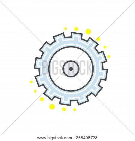 Gear Pinion Flat Line Modern Icon. Sign