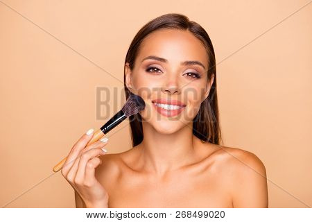 Portrait Of Nice Careless Carefree Dreamy Sweet Brown-haired Lady With Her Hollywood Teeth Toothy Sm