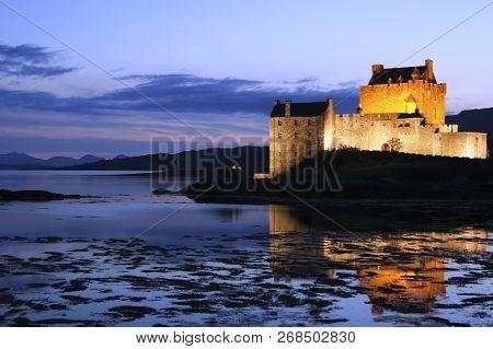 Eilean Donan Castle At Night In Dorne,scotland