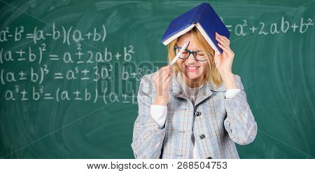 Improve Memory Skill. Woman Teacher With Book As Roof On Head. Memorizing Method. Train Memory Every