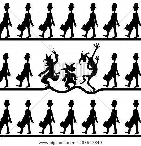 Conformity Fun Cartoon Clown Black Silhouettes, Vector Illustration, Horizontal, Over White