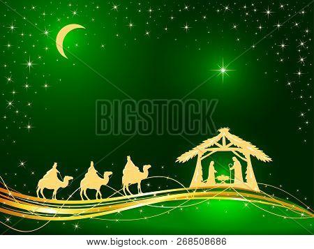 Christian Christmas Theme. Birth Of Jesus, Shining Star And Three Wise Men On Green Background, Illu