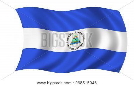 Waving Nicaraguan Flag In The Colors Blue And White