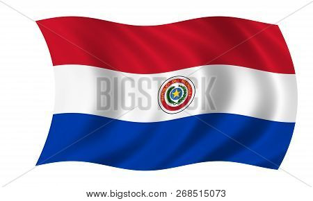 Waving Paraguayan Flag In The Colors Blue, White And Red