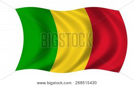 Waving Mali Flag In The Colors Green, Yellow And Red
