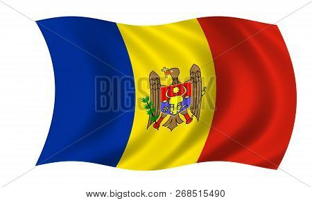Waving Moldovan Flag In The Colors Blue, Yellow And Red
