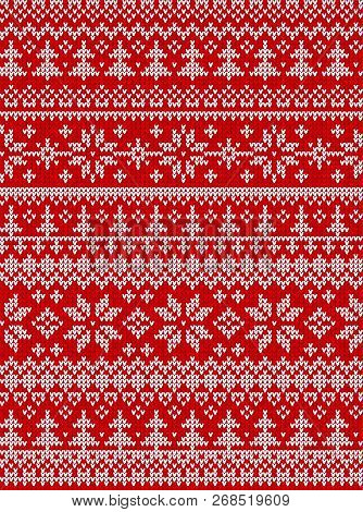 Ugly Sweater Merry Christmas New Year Knitted Background Seamless Pattern
