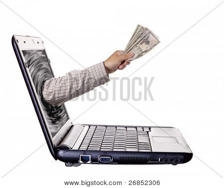 Getting money from laptop monitor screen - Online Transaction, Online Banking theme. Isolated on white