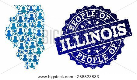 People Composition Of Blue Population Map Of Illinois State And Rubber Seal Stamp. Vector Seal With