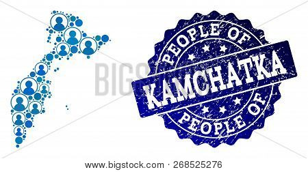 People Composition Of Blue Population Map Of Kamchatka Peninsula And Unclean Seal Stamp. Vector Wate