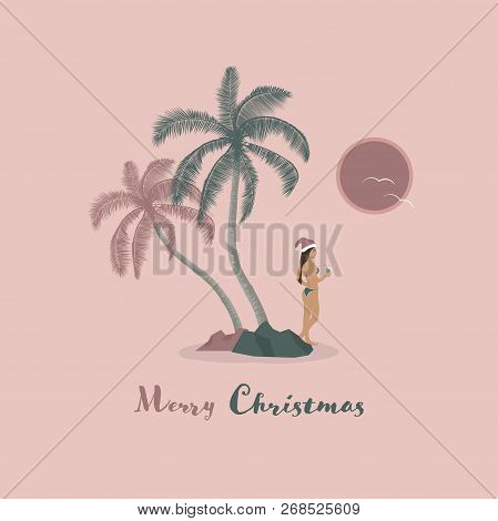 Christmas Time. Young Woman In Bikini With Cocktail And Christmas Hat. Text : Merry Christmas