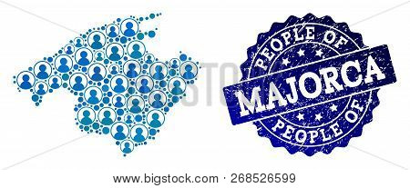 People Combination Of Blue Population Map Of Majorca And Corroded Stamp. Vector Watermark With Corro