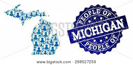 People Combination Of Blue Population Map Of Michigan State And Rubber Seal. Vector Watermark With S