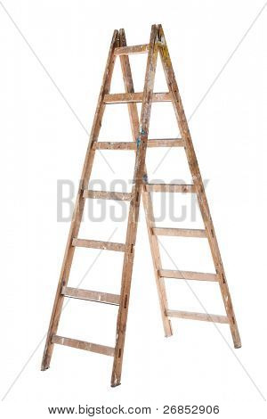 An Old Wooden Ladder isolated on white