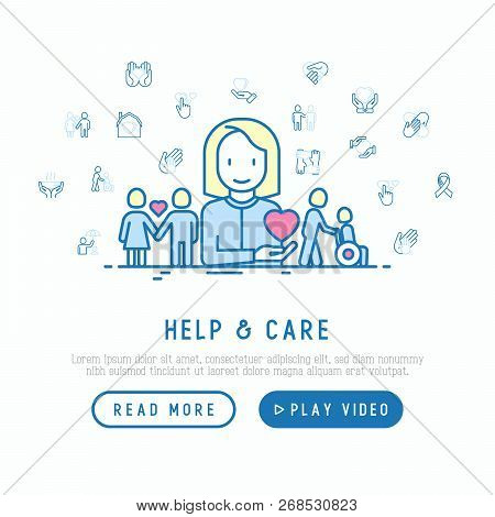 Help And Care Concept With Thin Line Icons: Symbols Of Support, Help For Children And Disabled, Toge