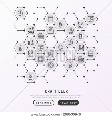 Craft Beer Concept In Honeycombs With Thin Line Icons Related To Octoberfest: Beer Pack, Hop, Wheat,