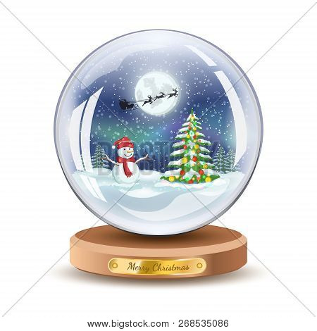 Christmas Snow Globe With Snowman And Christmas Fir Tree. Vector Stock Xmas Gift Glass Ball Illustra
