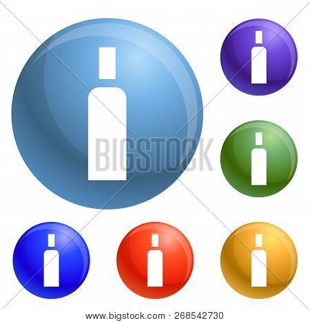 High Density Bottle Icons Set Vector 6 Color Isolated On White Background