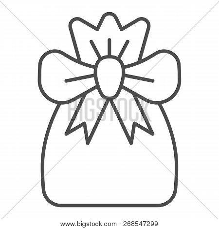 Santa Bag Thin Line Icon. Xmas Bag With Present Vector Illustration Isolated On White. Present Bag O