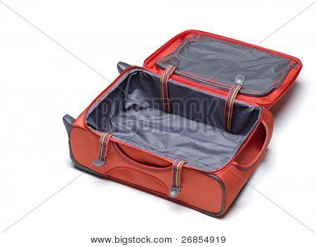 Open empty orange suitcase isolated on white background