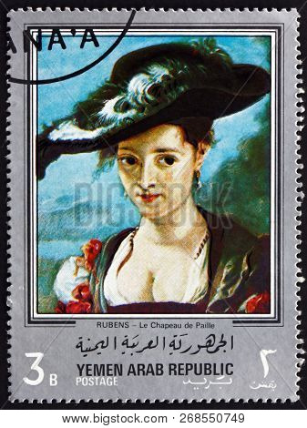 Yemen - Circa 1968: A Stamp Printed In Yemen Arab Republic Shows The Straw Hat, Painting By Sir Pete