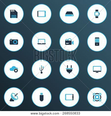 Gadget Icons Colored Set With Hard Drive, Tablet, Monitor And Other Desktop Elements. Isolated  Illu