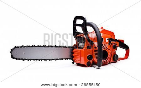 New red chainsaw isolated on white.