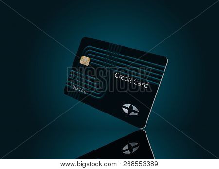 Here is a modern credit card that is a mock with generic logo. This is an illustration.