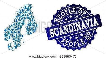 People combination of blue population map of Scandinavia and rubber seal stamp. Vector watermark with distress rubber texture. Mosaic map of Scandinavia constructed with rounded users. poster