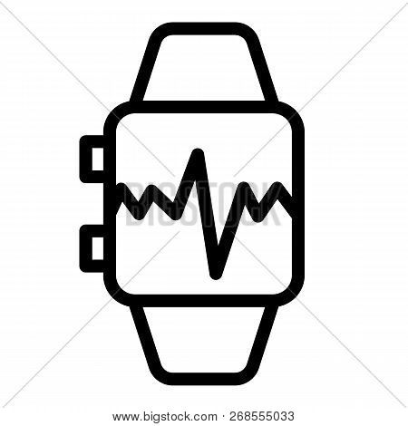Smart Watch With Pulse Line Icon. Smart Watch With Heartbeat Vector Illustration Isolated On White.