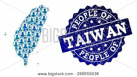 People Combination Of Blue Population Map Of Taiwan And Rubber Seal. Vector Seal With Unclean Rubber
