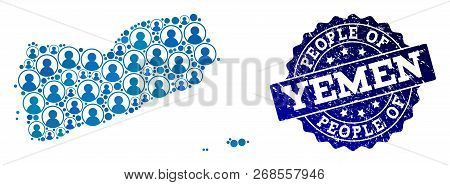 People Collage Of Blue Population Map Of Yemen And Rubber Seal. Vector Seal With Corroded Rubber Tex