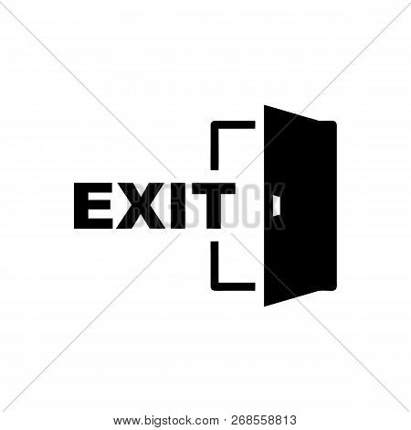 Exit Door Vector Icon On White Background. Exit Door Icon In Modern Design Style. Exit Door Vector I