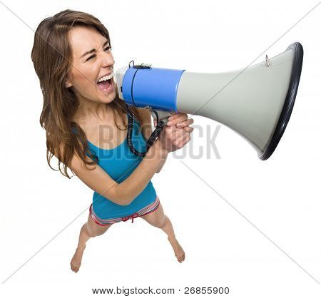 Woman yelling in a megaphone isolated on white