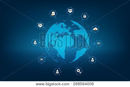 Network Global Earth Communications Network Map Of The World Blue Map Dark Blue Background Map World