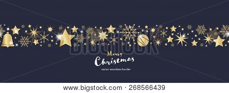 Christmas Time. Dark Blue And Golden Snowflake And Star Seamless Border With Bell And Christmas Ball