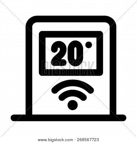 Wifi Temperature Control Icon. Outline Wifi Temperature Control Icon For Web Design Isolated On Whit