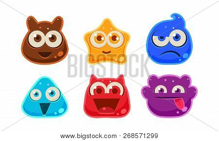 Cute Funny Colorful Jelly Monsters Set, User Interface Assets For Mobile Apps Or Video Games Vector