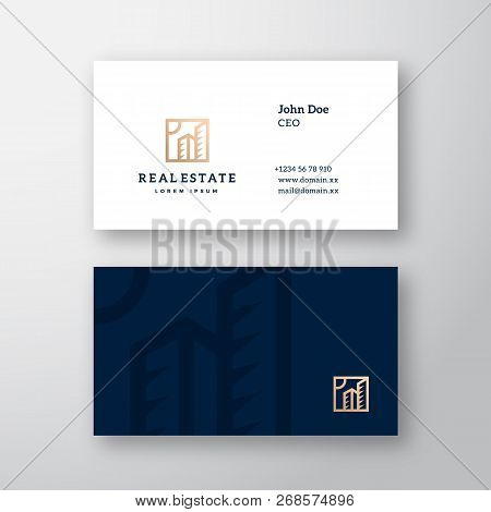 Real Estate Abstract Elegant Vector Logo and Business Card Template. Premium Stationary Realistic Mock Up. Modern Typography and Soft Shadows. poster