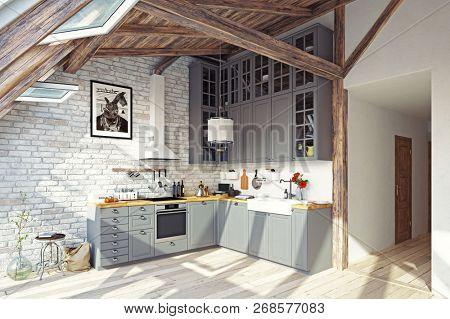 modern attic kitchen interior. 3d rendering design concept