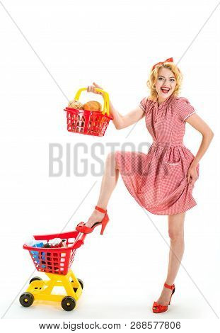 Big Sale In Shopping Mall. Family Shopping Online. Joyful Woman Enjoying Online Shopping. Savings On