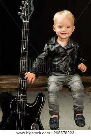 Im Not Prince Im Rock And Roll Star. Child Boy With Guitar. Little Guitarist In Rocker Jacket. Rock