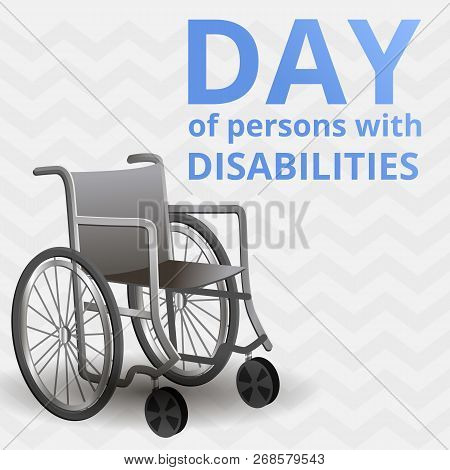 International Day Of Disability Persons Concept Background. Cartoon Illustration Of International Da