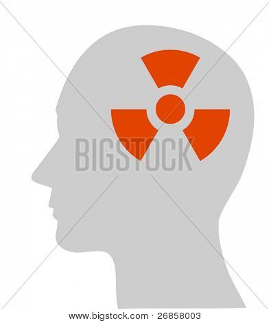 Illustration of nuclear symbol in human head, vector