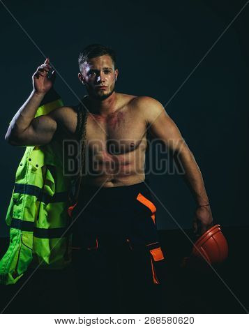 Master Of Building. Worker Or Workman. Strong Man With Work Clothes. Hard Worker With Muscular Sexy
