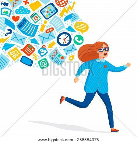 Input Overloading. Information Overload Concept. Young Women Running Away From Information Stream Pu